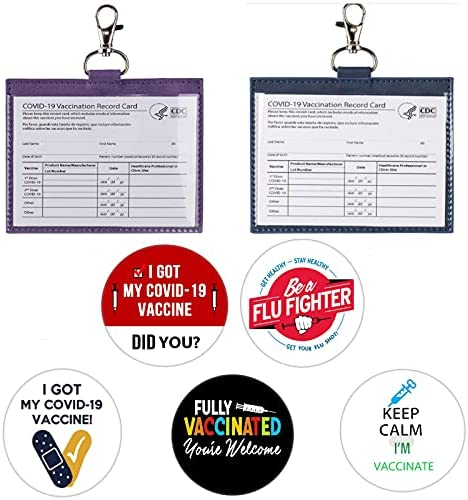 CAD Vaccine Set of 7 Including 2 Pack Leather CDC Vaccine Card Protector 4x3 and 5 PCS 2.25 Inch Vaccine Button Pins, I Got My Covid 19 Vaccine Pins Badge and Vaccine Card Hold Case to Protect Your CDC Immunization Record Card (2pcs card protector+5pcs button)